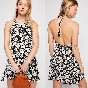 Free People halter fit and flare print mini dress